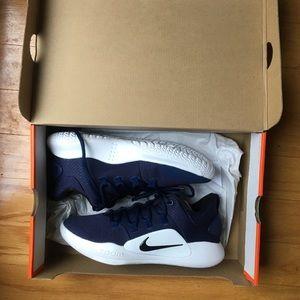 Navy Nike running shoes.